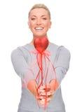 Frau mit rotem Innerem Lizenzfreie Stockfotografie
