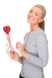 Frau mit rotem Innerem Lizenzfreies Stockfoto