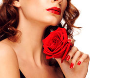 Frau mit rotem Lippenstift Lizenzfreies Stockbild