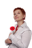 Frau mit roter Blume Stockbilder