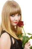 Frau mit roter Rose Lizenzfreies Stockbild
