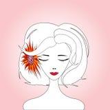 Frau mit roter Sonnenblume Stockbilder