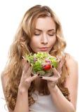 Frau mit Salat Stockbilder