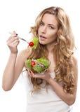 Frau mit Salat Lizenzfreie Stockbilder