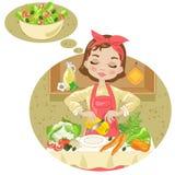 Frau mit Salat Stockfotografie