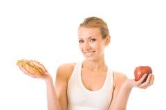 Frau mit Sandwich und Apfel Lizenzfreies Stockfoto