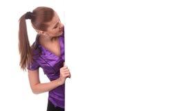 Frau mit sauberer Fahne Stockfotos