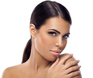 Frau mit sauberer Haut Stockfoto