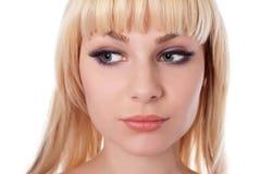 Frau mit schönem blondem getrennt auf Weiß Lizenzfreies Stockfoto