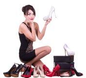 Frau mit schönen Schuhen Lizenzfreie Stockfotos