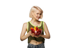 Frau mit Schüssel Gemüse Stockfotos