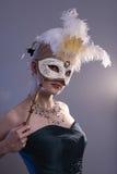 Frau mit Schablone Lizenzfreie Stockfotografie