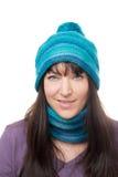 Frau mit Schal und Hut Stockfotografie
