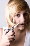 Frau mit Scheren stockfoto