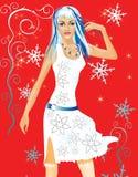 Frau mit Schneeflocken lizenzfreie abbildung