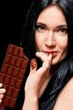 Frau mit Schokolade Lizenzfreies Stockfoto
