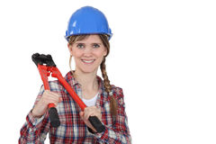 Frau mit Schraubenscherblöcken Lizenzfreie Stockfotografie