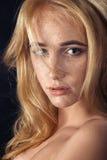 Frau mit Sommersprossen Stockfoto
