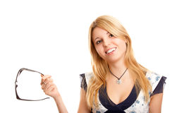 Frau mit Sonnegläsern Stockfotos