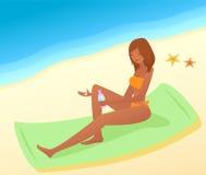 Frau mit Sonneschutz Lizenzfreies Stockbild