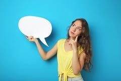 Frau mit Spracheluftblase Lizenzfreies Stockfoto