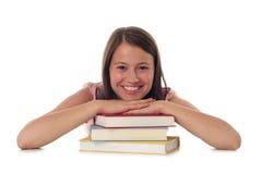 Frau mit Stapel Büchern Stockbilder