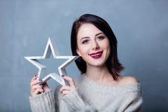 Frau mit Sternform Lizenzfreies Stockbild