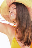Frau mit Straw Hat Stockfoto