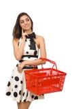 Frau mit supermarkey Korb Stockfotos