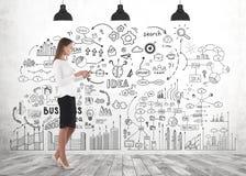 Frau mit Tablette, Unternehmensplan lizenzfreies stockbild