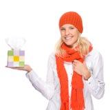 Frau mit Taschentuch stockbilder