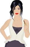 Frau mit Taste Stockbilder