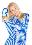 Frau mit Tauchensschablone im Seemannkleid Lizenzfreies Stockfoto