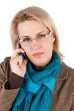Frau mit Telefon Stockbilder