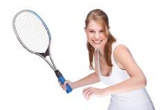 Frau mit Tennisschläger Stockfoto