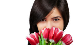 Frau mit Tulpen Stockbild