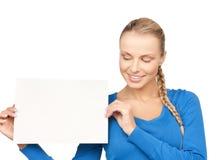 Frau mit unbelegtem Vorstand Lizenzfreies Stockbild
