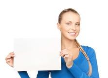 Frau mit unbelegtem Vorstand Stockfotos