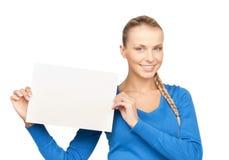 Frau mit unbelegtem Vorstand Stockfoto