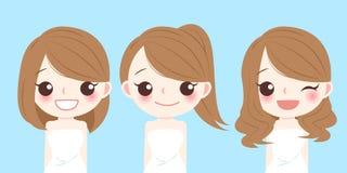 Frau mit unterschiedlicher Frisur stock abbildung