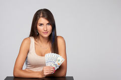 Frau mit US-Dollar Geld Stockbilder