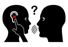 Frau mit Verlust der Hörfähigkeit Stockfotografie