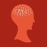Frau mit vielen Fragen im Verstand Stockfotos