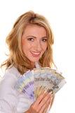 Frau mit vielen Schweizer Franc stockbild