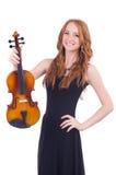Frau mit Violine stockfotos