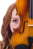 Frau mit Violine lizenzfreies stockfoto