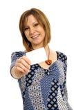 Frau mit Visitenkarte Stockfotos