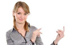 Frau mit Vorstand Lizenzfreies Stockbild