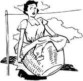 Frau mit Wäscherei vektor abbildung