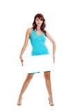 Frau mit weißem Leerzeichen Stockfotografie